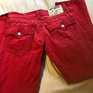 Men's red TR jeans